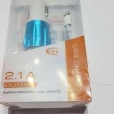 Incarcator Auto IPHONE 6S /2 IN1 KIT CU 2 IESIRI USB CABLU IPHONE