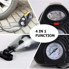 Aspirator, compresor, lanterna si manometru 4 in 1 - Aspirator auto, 96 W