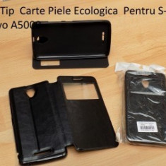 Husa Tip Carte Piele Ecologica Pentru S-View Lenovo A5000 - Husa Telefon