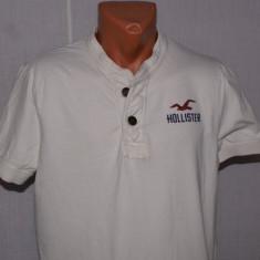 Tricou henley barbati HOLLISTER California marimea L culoarea bej - aproape alb - Tricou barbati, Marime: L/XL, Maneca scurta, Bumbac