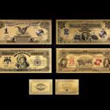 S.U.A. - SET 1, 2, 5 DOLARI 1899 & 10 DOLARI 1901 POLYMER PLACAT CU AUR 24K