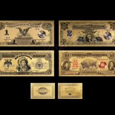 S.U.A. - SET 1, 2, 5 DOLARI 1899 & 10 DOLARI 1901 POLYMER PLACAT CU AUR 24K - bancnota america