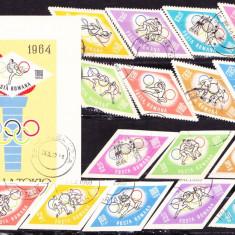Timbre ROMANIA 1964 = JOCURI OLIMPICE TOKYO - JAPONIA, SERII COMPLETE + COLITA, Stampilat