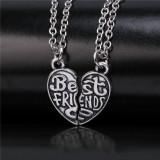 Pandantiv / Colier / Lantisor BFF Best Friends Forever forma de inima,cu 2 fete