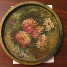 GE - Tava veche mare pictata manual / cu patina timpului