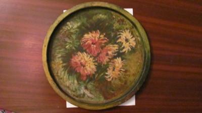 GE - Tava veche mare pictata manual / cu patina timpului foto