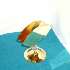 Suport servetele alama placat cu aur 24K, cristal fasetat manual - Lovsjo Suedia - Arta din Metal