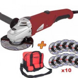 Flex 125 mm x 800 W + Geanta + 10 discuri Raider Power Tools RD-AG15D - Masina de taiat
