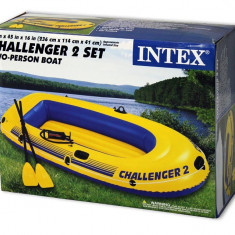 Set Barca pneumatica gonflabila CHALLENGER 2 + vasle si pompa / INTEX 68367 - Barca pneumatice