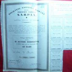 Actiune Societatea pt Ind. Animala SARPIA, titlu 50 Actiuni a 1000 lei 1937