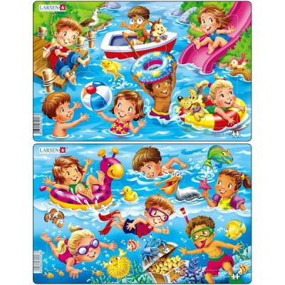 Set 2 Puzzle-Uri Copii La Mare, 11 Piese Larsen foto