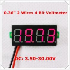 Voltmetru digital cu leduri rosii, 3.5 - 30 V, foarte precis, 4 digit, cu 2 fire