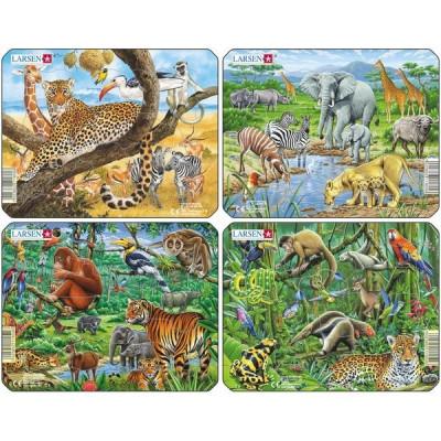 Set 4 Puzzle-Uri Animale Exotice, 11 Piese Larsen foto