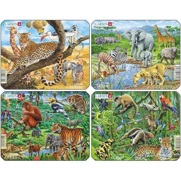 Set 4 Puzzle-Uri Animale Exotice, 11 Piese Larsen