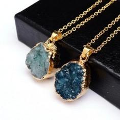 Pandantiv/Lanțic - Piatra Naturala Albastru - Placat aur 18 k / Italia/Unic. - Pandantiv placate cu aur