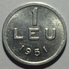 1 Leu 1951 Al Romania a UNC, Luciu de batere - Moneda Romania, Aluminiu