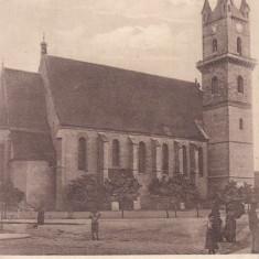 BISTRITA, BISERICA EVANGHELICA, CIRCULATA, KUK - Carte Postala Transilvania dupa 1918, Printata