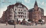 ORADEA ,  HOTEL FEKETE , TRAMVAI , CARUTA , ANIMATA , CIRCULATA 1916, Printata