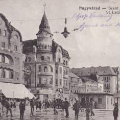 ORADEA, PIATA ST. LADISLAUS, HOTEL FEKETE - Carte Postala Crisana dupa 1918, Necirculata, Printata