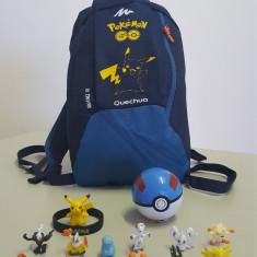 Ghiozdan POKEMON GO - KIT Rucsac Pikachu + POKEBALL + 12 x Pokemoni + BRATARA, Unisex, Albastru