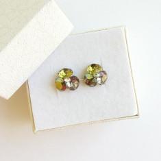 Cercei deosebiti cu cristale Swarovski in nuante kaki si tortite de argint - Cercei Swarovski