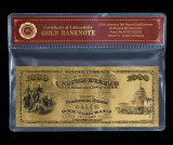 1000 DOLARI 1875 S.U.A. - BANCNOTA POLYMER PLACATA CU AUR 24K