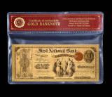 1 DOLAR 1875 S.U.A. - BANCNOTA POLYMER PLACATA CU AUR 24K