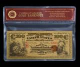 100 DOLARI 1875 S.U.A. - BANCNOTA POLYMER AURITA CU AUR 24K.