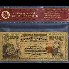 100 DOLARI 1875 S.U.A. - BANCNOTA POLYMER AURITA CU AUR 24K. - bancnota america