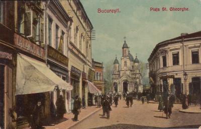 BUCURESTI , PIATA SF. GHEORGHE , MAGAZINE , CIRCULATA 1906 foto
