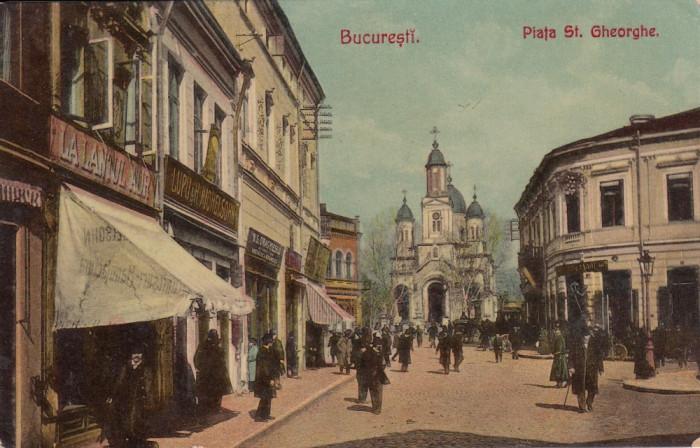 BUCURESTI , PIATA SF. GHEORGHE , MAGAZINE , CIRCULATA 1906 foto mare