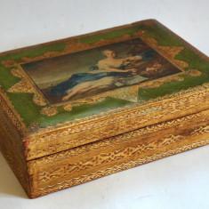 Cutie din lemn pentru pastrare bijuterii, decorata in stil florentin - Cutie Ceas