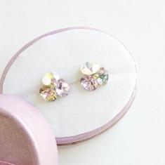 Cercei deosebiti cu cristale swarovski in nuante deschise si tortite argint - Cercei Swarovski