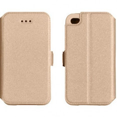Husa Sony Xperia X Flip Case Inchidere Magnetica Gold - Husa Telefon Sony, Auriu, Piele Ecologica, Cu clapeta, Toc