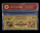 50 DOLARI 1875 S.U.A. - BANCNOTA POLYMER PLACATA CU AUR 24 K.