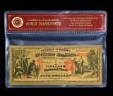 5 DOLARI 1875 S.U.A. - BANCNOTA POLYMER PLACATA CU AUR 24 K