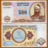 !!! AZERBAIDJAN - 500 MANAT (1993) - P 19 b - UNC - bancnota asia