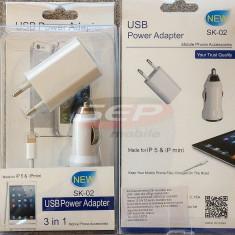Kit accesorii iPhone 5S / 6S & iPad 4 / mini DELUXE compatibil IOS8, De priza si masina