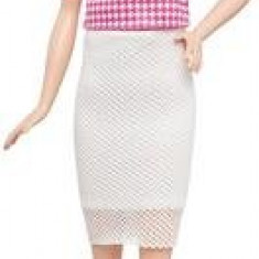 Papusa Barbie Fashionista Doll In White And Pink Pizzazz Mattel