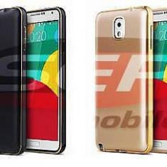Bumper Aluminiu Suede Samsung Galaxy S6 Edge BLACK, Negru