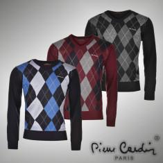 Bluza Pulover Barbati Pierre Cardin Paris office original - marimea L XL XXL, Marime: L, Culoare: Bleumarin, Visiniu, La baza gatului, Acril