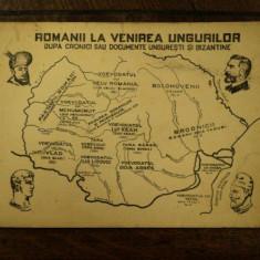 Carte postala ilustrata, Romanii la venirea ungurilor - Harta Europei