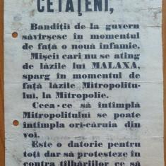 Afis legionar original, antisemit, referitor la Malaxa si mitropolie, 1940