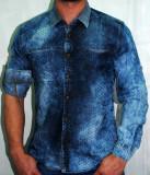 Camasa blug blugi pentru barbati model prespalat maneca lunga sau scurta, XL, Albastru