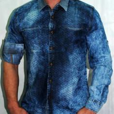 Camasa blug blugi pentru barbati model prespalat maneca lunga sau scurta - Camasa barbati, Marime: XL, Culoare: Albastru