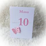 Set 10 numere masa pentru botez - fluturi/ roz
