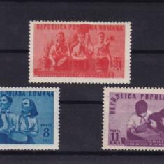 ROMANIA 1950 LP 265 UN AN DE LA INFIINTAREA ORGANIZ. DE PIONIERI SERIE MNH - Timbre Romania, Nestampilat