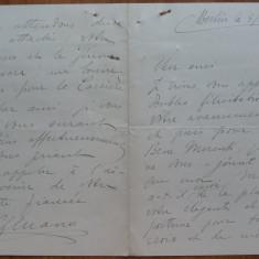 Scrisoare a lui C-tin George Manu, diplomat din familie de boieri, Berlin, 1906 - Autograf