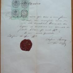 Chitanta din Ardeal, 1874, timbre fiscale si sigiliu - Cambie si Cec