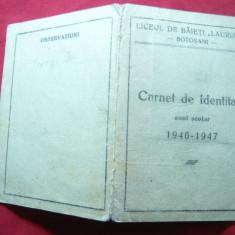 Carnet Identitate 1946-1947 -Liceul de Baieti Laurian Botosani, Documente